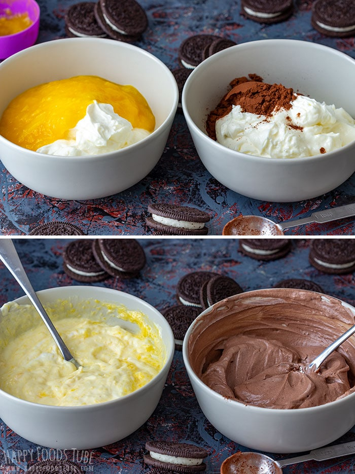 Step by step how to make Chocolate Mango Cheesecake Parfait picture collage 1