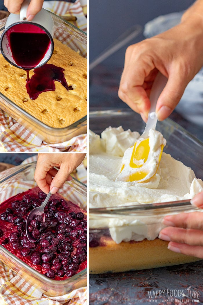 Step by step how to make Lemon Blueberry Poke Cake collage 2