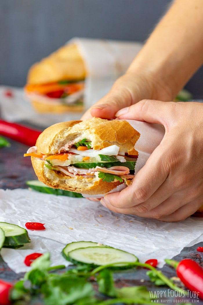 Vietnamese Sandwich Banh Mi Bite Taken