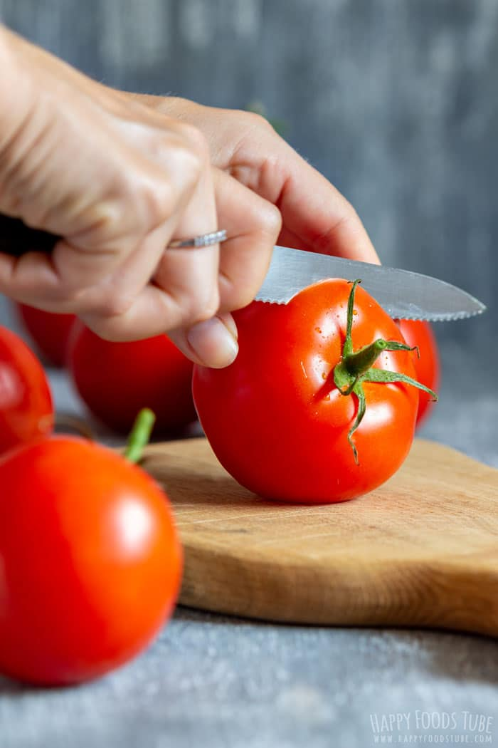 Cutting Tomatoes for Instant Pot Stuffed Tomatoes
