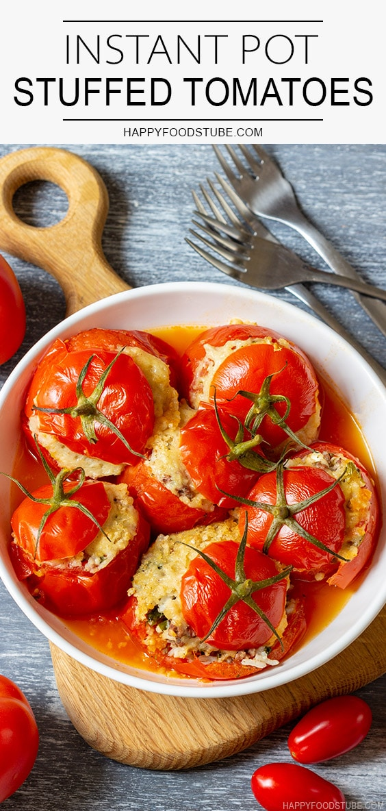 Instant pot pressure cooker filled tomatoes on the plate