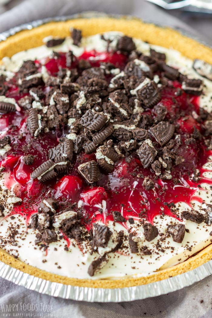 No Bake Oreo Cherry Pie with Graham cracker pie crust