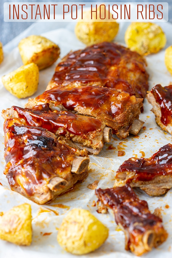 Instant Pot Hoisin Ribs are cooked in a pressure cooker and glazed with hoisin sauce. Tender, fall-off-the-bone ribs are ready on your table in under an hour. #happyfoodstube #instantpot #hoisin #ribs #pork #recipe #pressurecooker #lunch #dinner #sauce #cooking