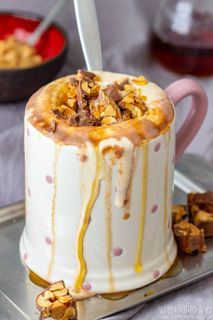 Homemade Peanut Butter Hot Chocolate topped with Reeses