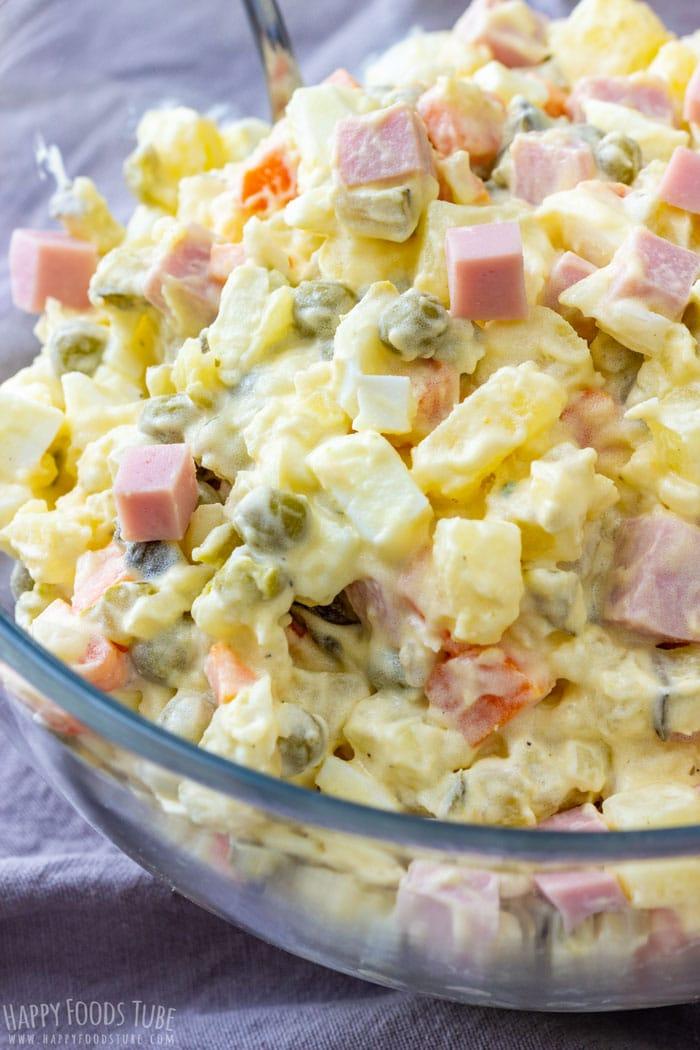 Creamy Potato and Ham Salad Closeup