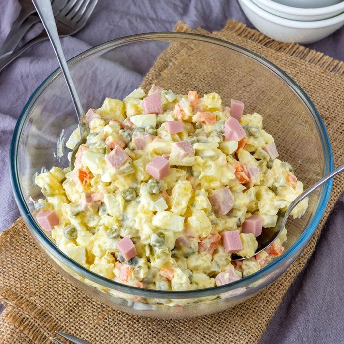 Potato Egg Ham Salad Recipe