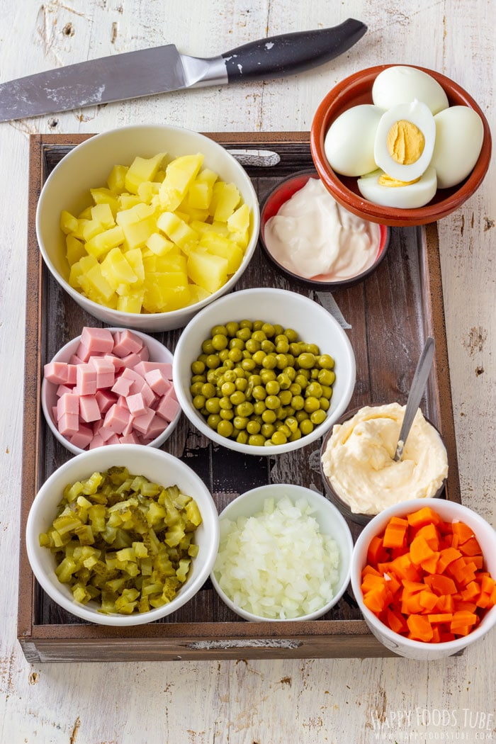 Ingredients for Creamy Potato and Ham Salad