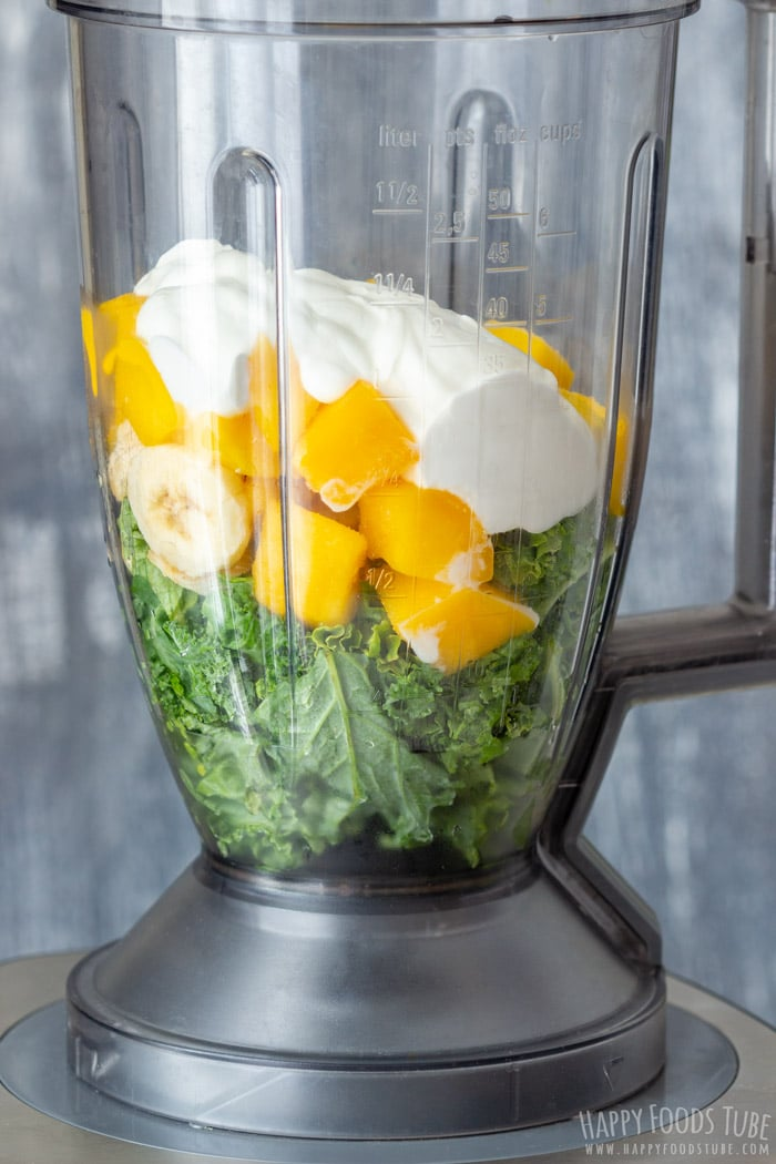 How to make Mango Kale Smoothie Step 1