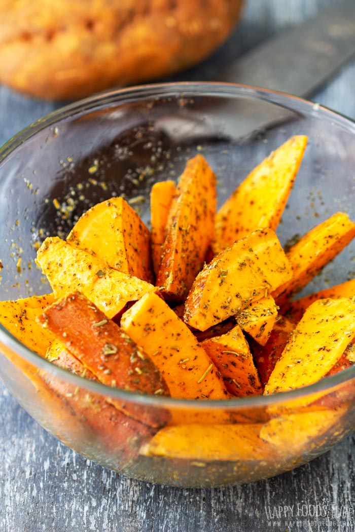 How to make Oven Roasted Sweet Potato Wedges Step 2