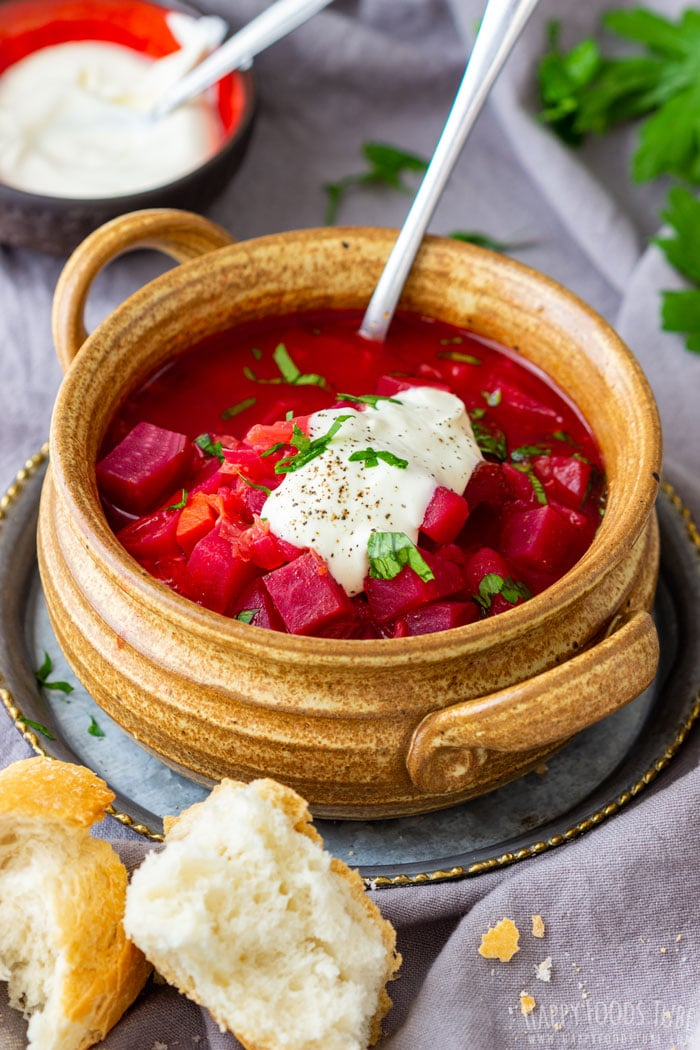 Instant Pot Pressure Cooker Borscht with Sour Cream