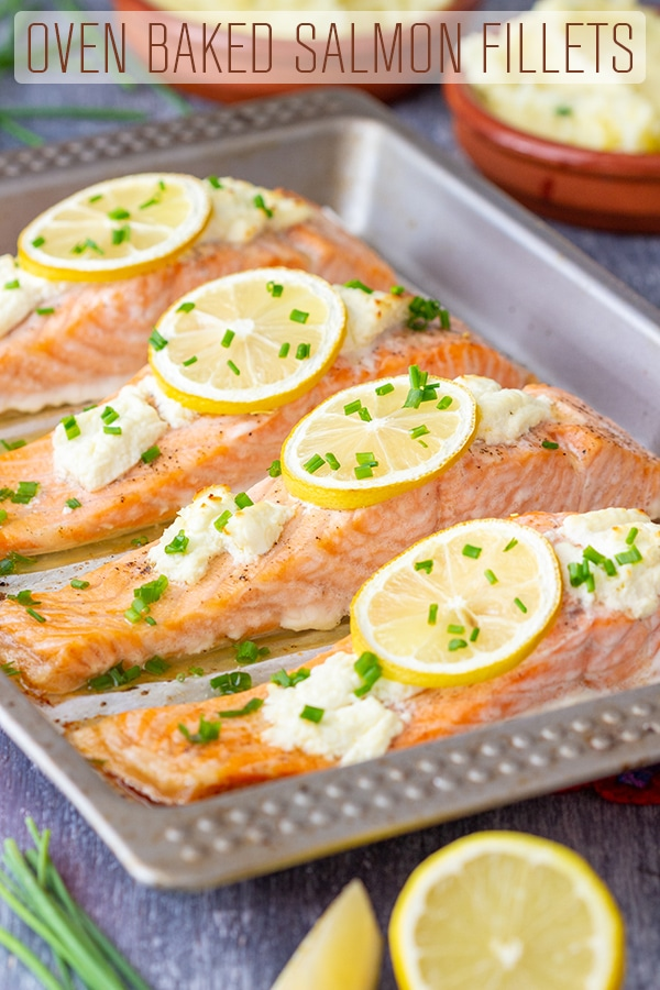 Oven Baked Salmon Fillets are perfect for a weeknight dinner as well as any special occasion. Only a few ingredients and little time are needed to make this salmon dinner! #happyfoodstube #baked #salmon #fillets #recipe #seafood #fish #cooking #lunch #dinner #comfortfood #food