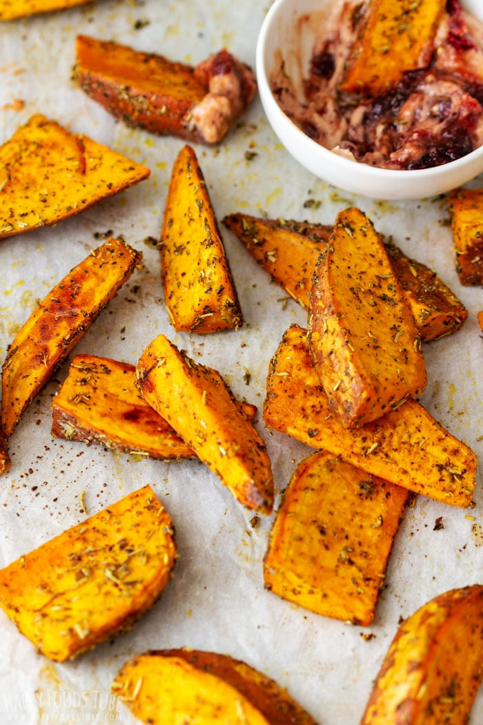 Oven Roasted Sweet Potato Wedges with Dip