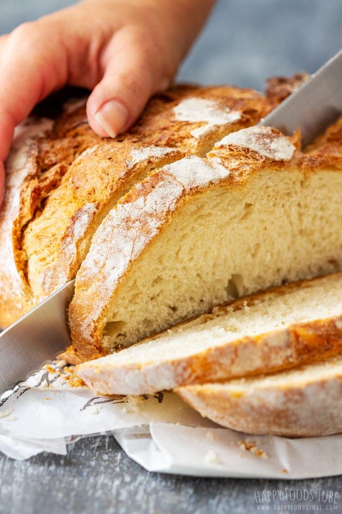 Slicing Bread for Turkey Cranberry Panini