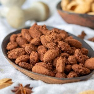 Spiced Cocoa Roasted Almonds Closeup