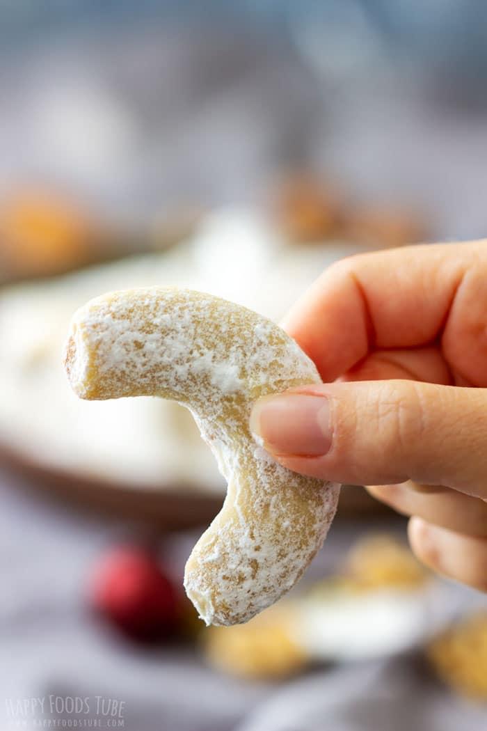 Sugar Coated Walnut Crescent Cookie
