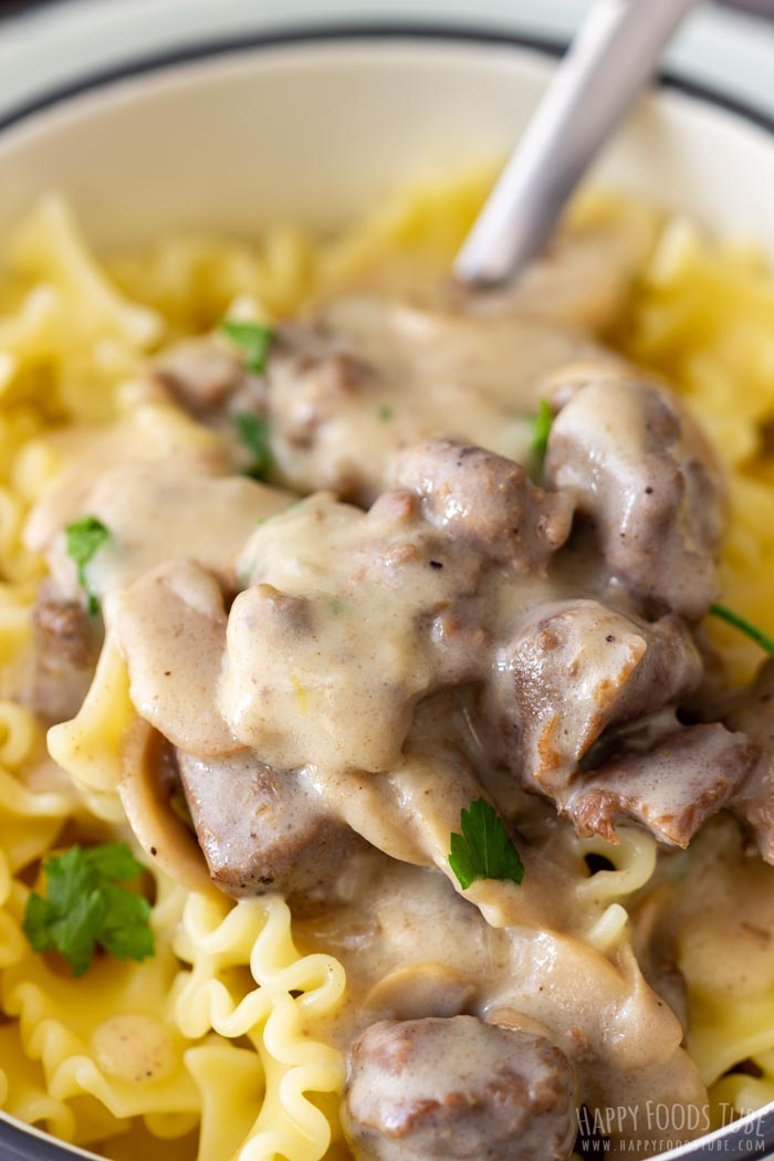 Authentic Instant Pot Beef Stroganoff Closeup