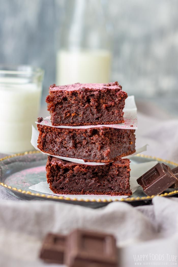 Homemade Dark Chocolate Beet Brownies Squares