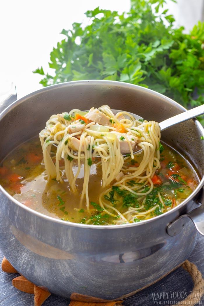 Serving the Leftover Turkey Noodle Soup