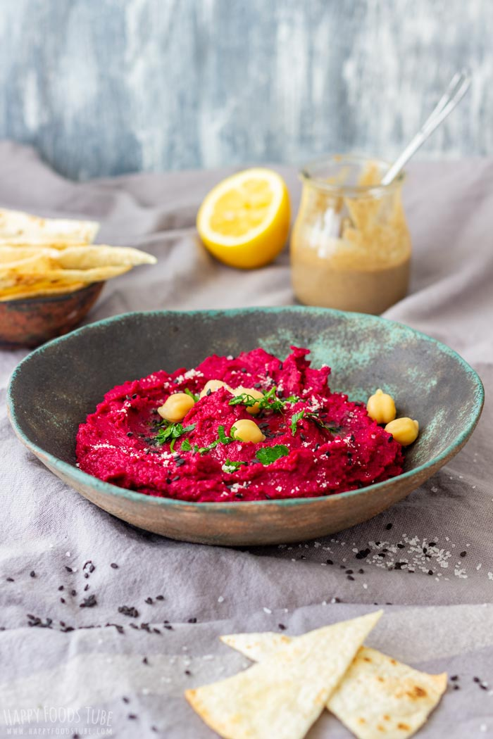 Roasted Beet Hummus with Tortilla Chips