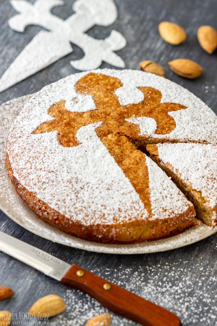 Traditional Spanish Almond Cake Tarta de Santiago