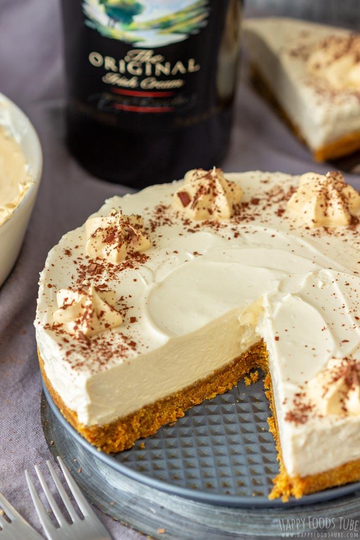 No Bake Irish Cream Cheesecake Slice Taken Out