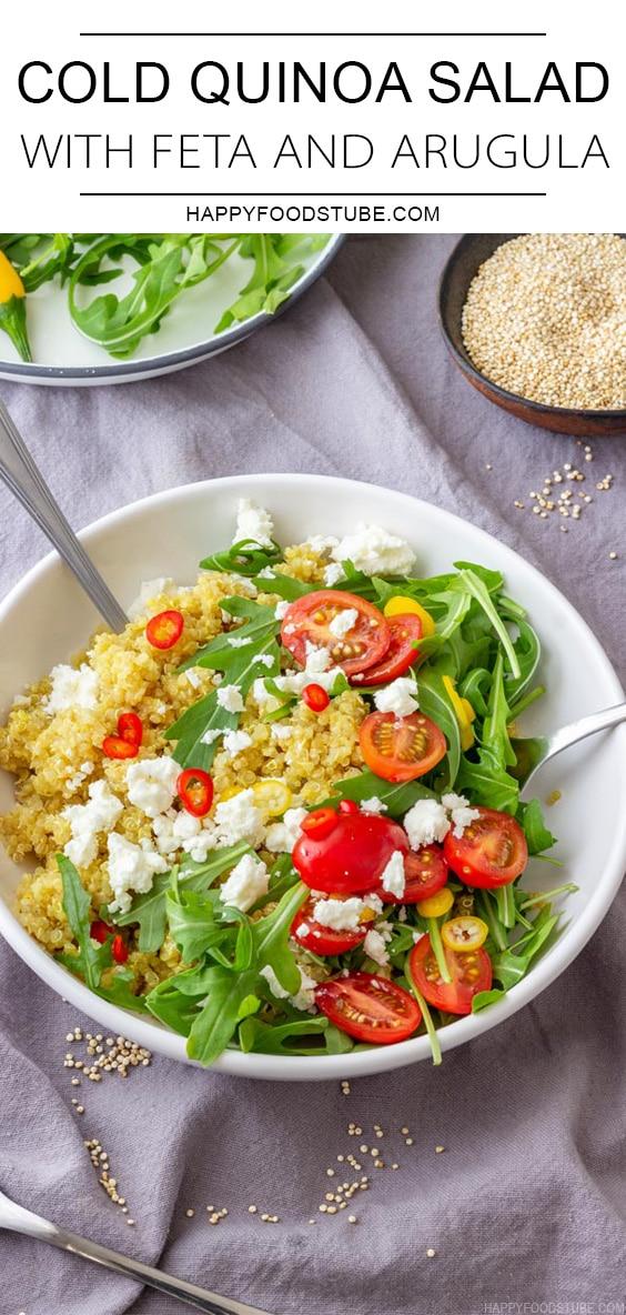 Healthy Cold Quinoa Salad with Feta and Arugula