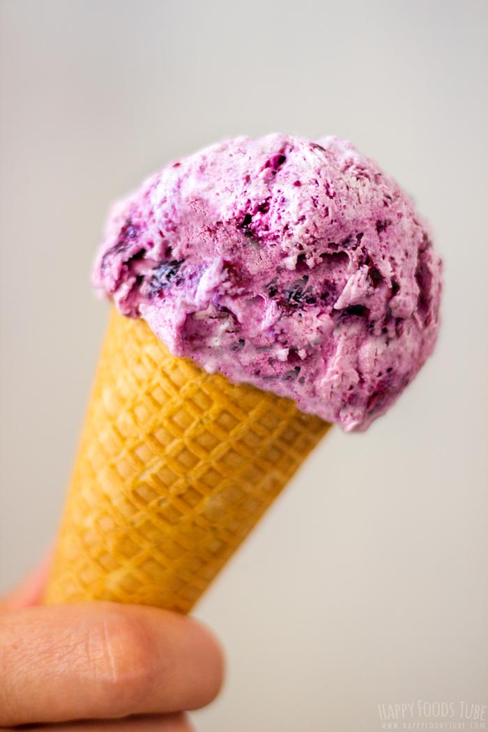 Holding Homemade Blueberry Ice Cream