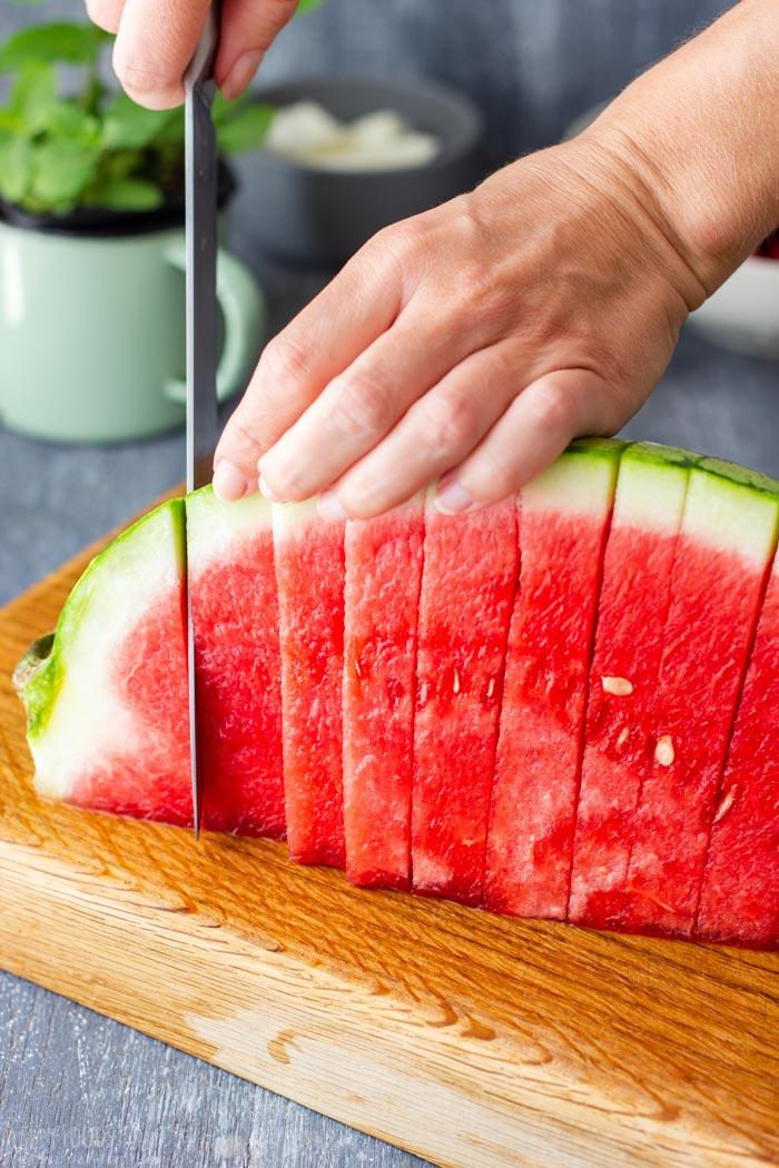 How to make Watermelon Feta Salad Step 1