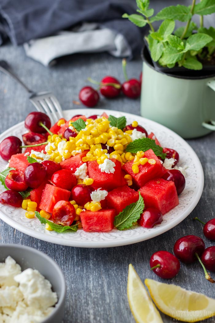 Summer Watermelon Feta Salad with Cherries