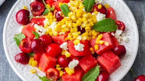 Watermelon Feta Salad with Cherries