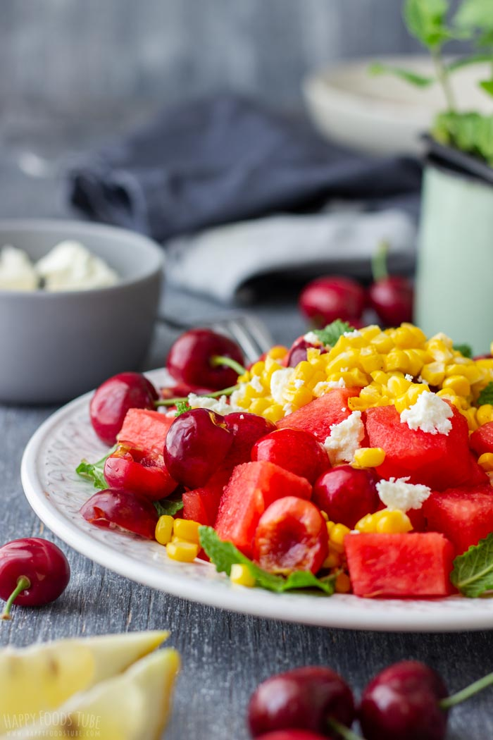 Watermelon Feta Salad with Cherries