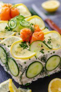 Gourmet Smoked Salmon Sandwich Cake