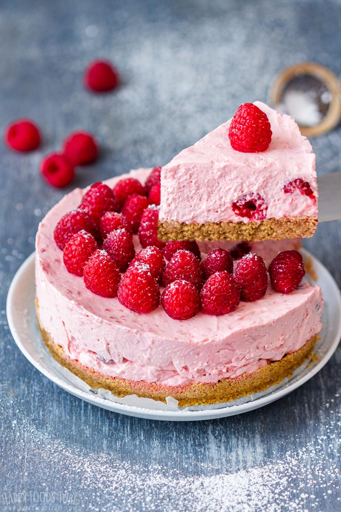 No Bake Raspberry Cheesecake Slice