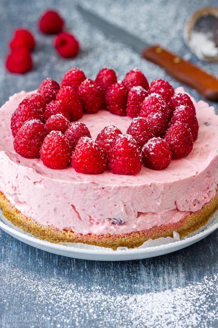 No Bake Raspberry Cheesecake with Fresh Strawberries