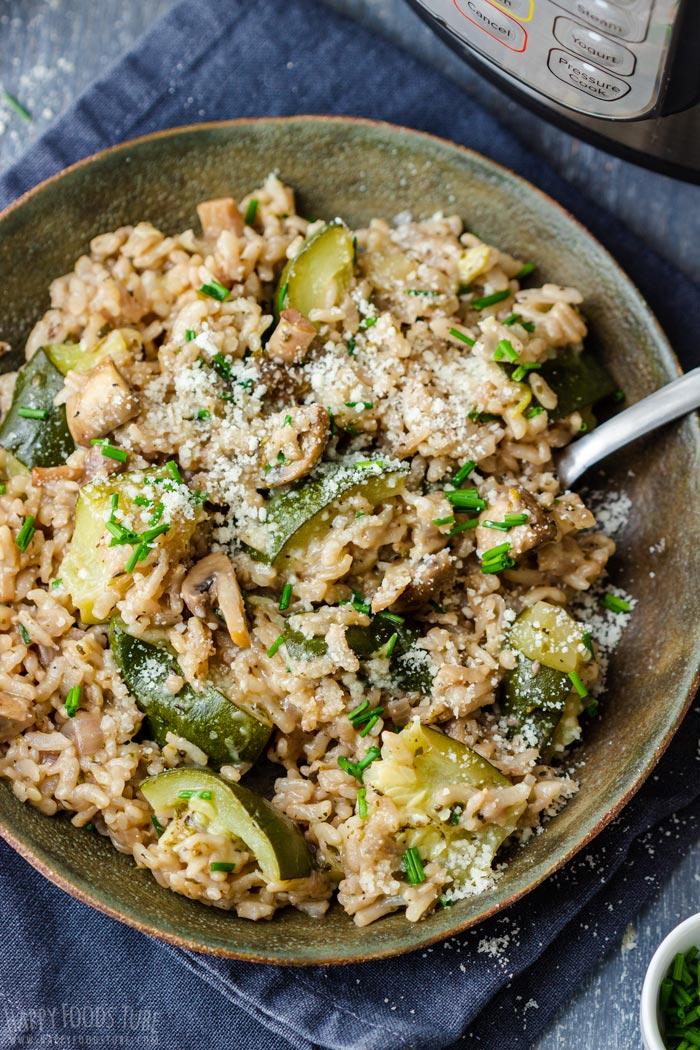 Pressure Cooker Zucchini Mushroom Risotto