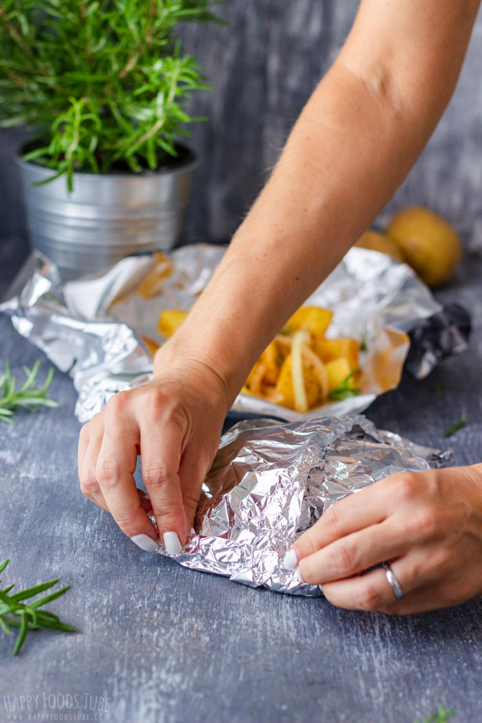 Steps How to Make Campfire Potatoes - Cover with Foil