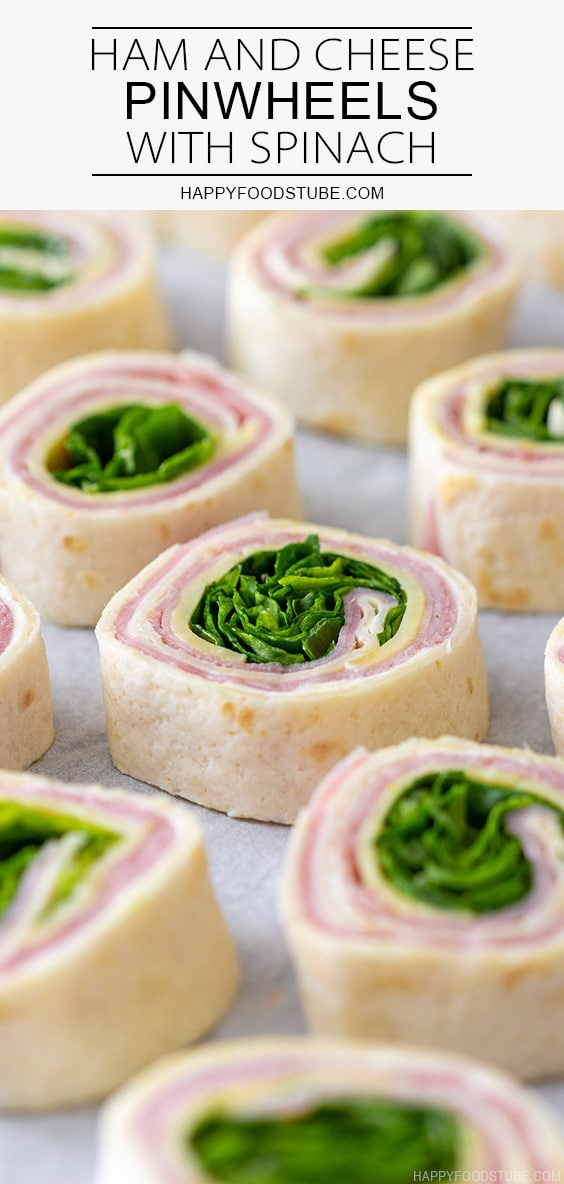 Ham and Cheese Pinwheels with Spinach Recipe