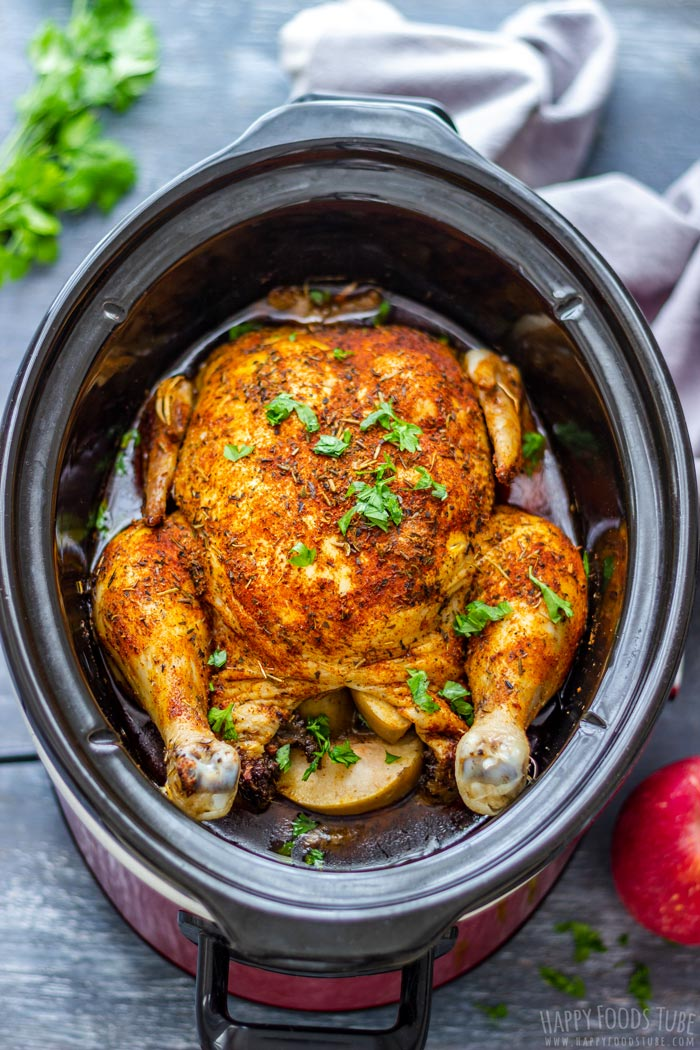 Homemade Slow Cooker Whole Chicken