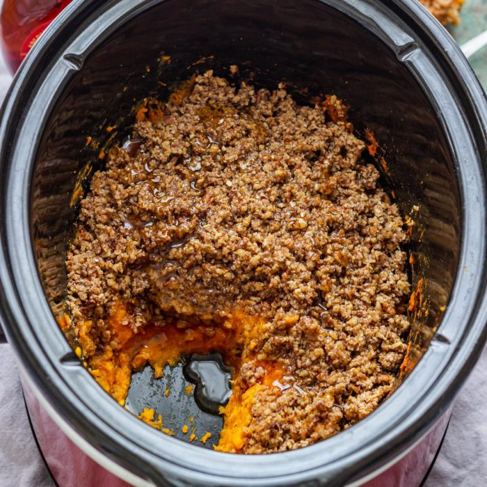 Slow Cooker Sweet Potato Casserole with Pecans