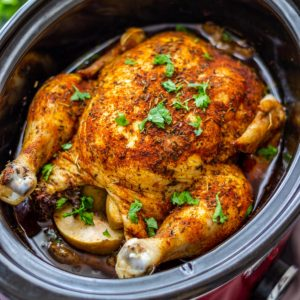 Juicy Slow Cooker Whole Chicken