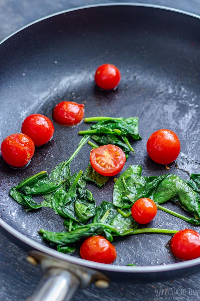 Cooking Tomatoes and Spinach on the Skillet
