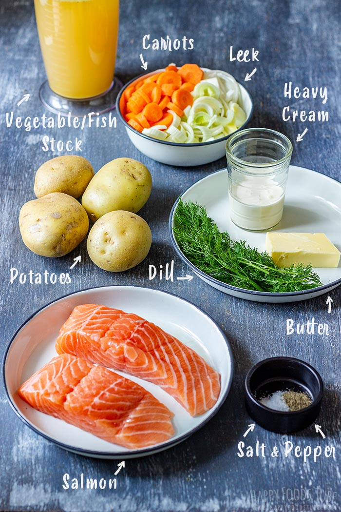 Traditional Salmon Soup Ingredients