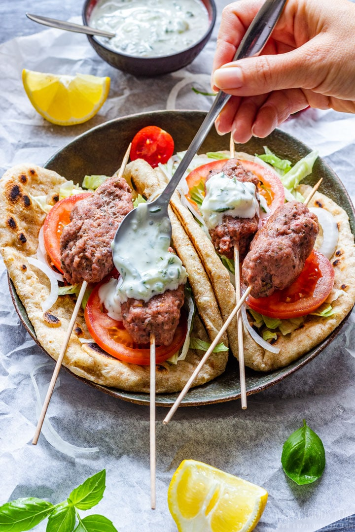 Topping Beef Koftas with Tzatziki Sauce