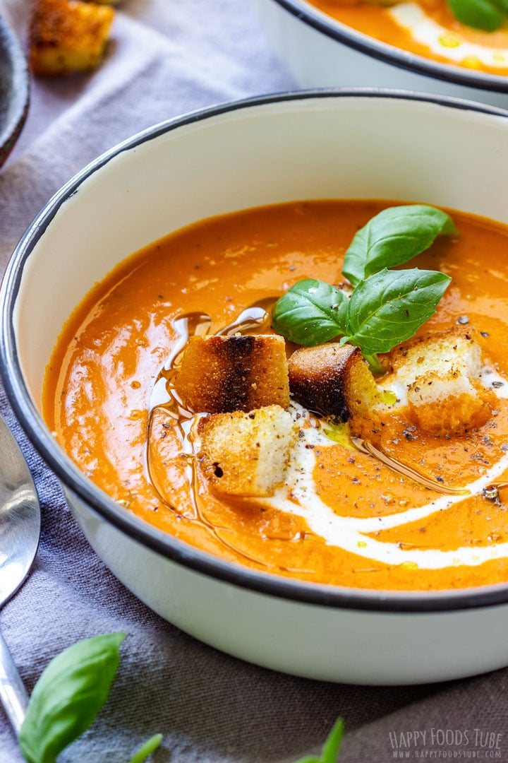 Homemade Tomato Basil Soup topped with Croutons
