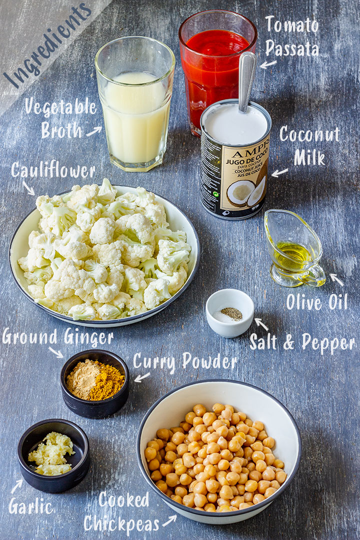Ingredients of Cauliflower Chickpea Curry