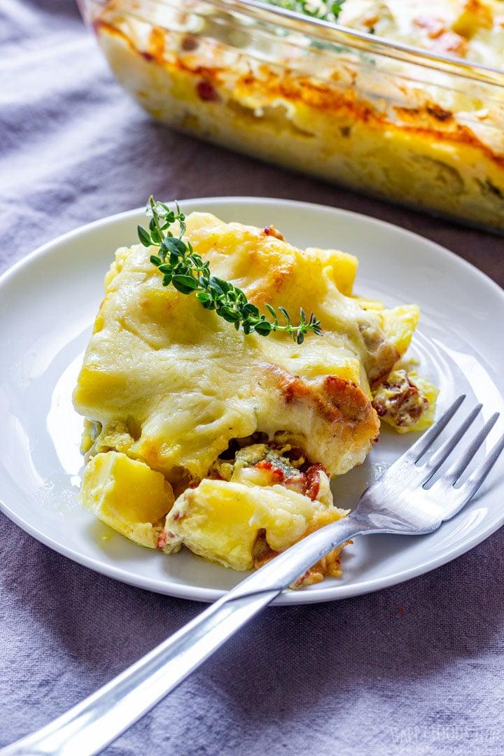 Potato & Bacon Casserole on the white plate
