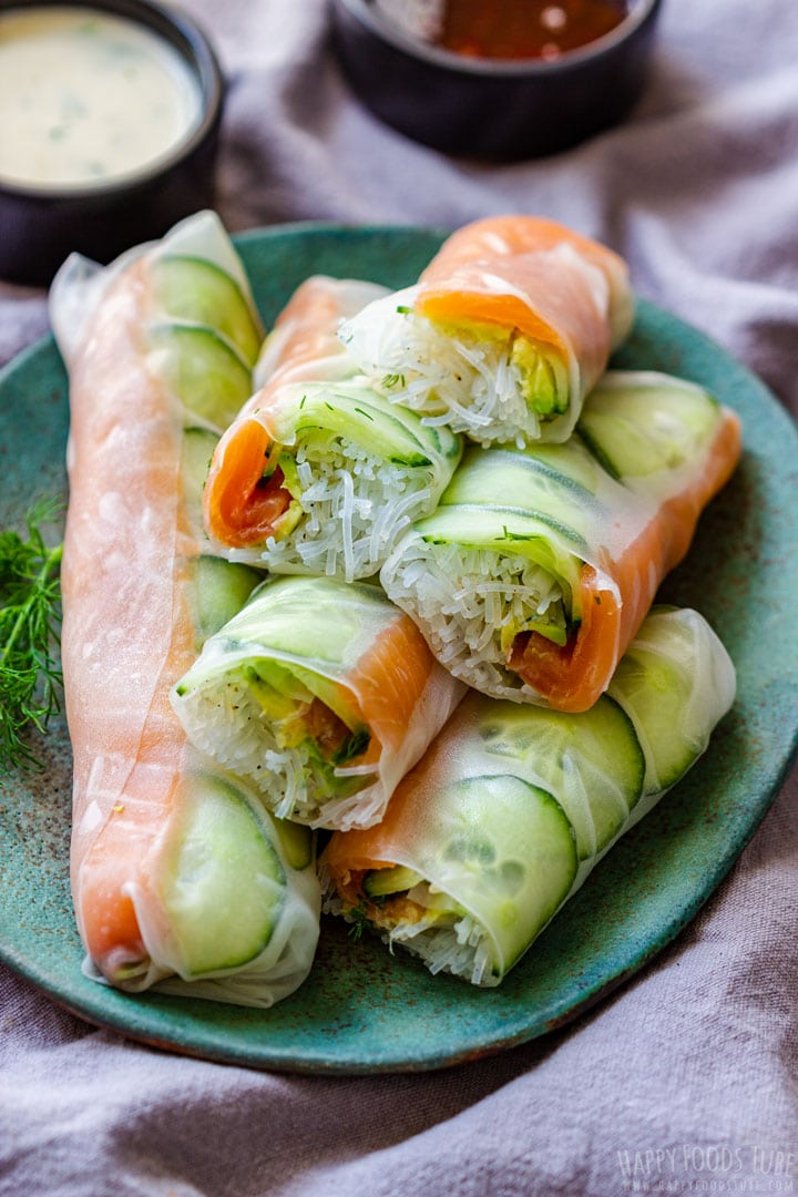 Fresh summer rolls with salmon, cucumber avocado and vermicelli noodles