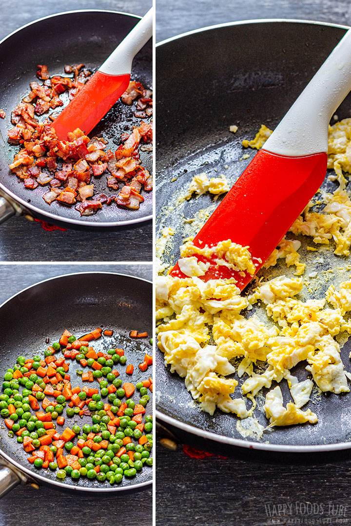 How to make Bacon Fried Rice Step by Step Picture Collage