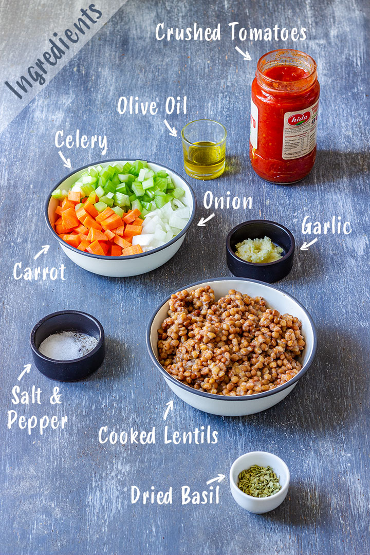 Ingredients needed for Lentil Bolognese Sauce