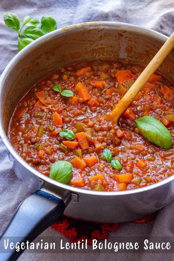 Vegetarian Lentil Bolognese Sauce Pin